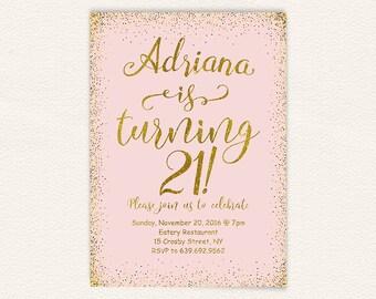 Blush pink and gold glitter digital printable birthday party invite for women, 21st birthday invitation, simple modern 5x7 size jpg 15