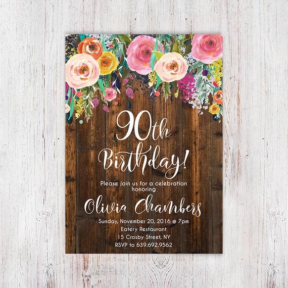 Rustic Floral Women Birthday Invitation 90th