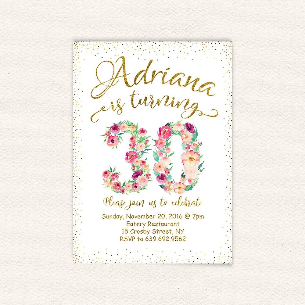 Floral invitation happy birthday 30 years gold glitter | Etsy