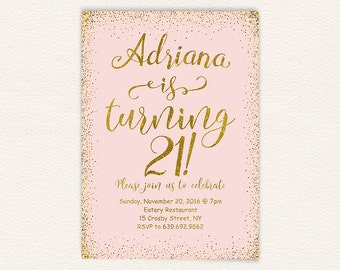 21st birthday invitation, blush pink and gold glitter, digital printable birthday party invite, confetti birthday celebration 5x7 jpg 8