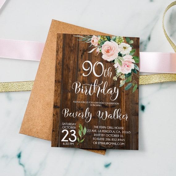 90th Birthday Invitation Floral Women