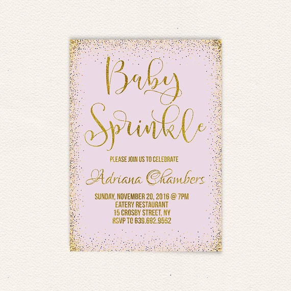 lavender girl baby sprinkle invite purple and gold baby etsy