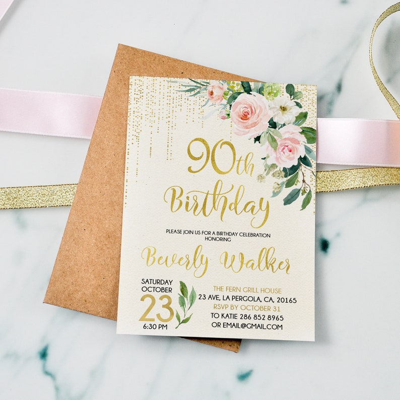 90th Birthday Invitation Cream Invite Floral Pink