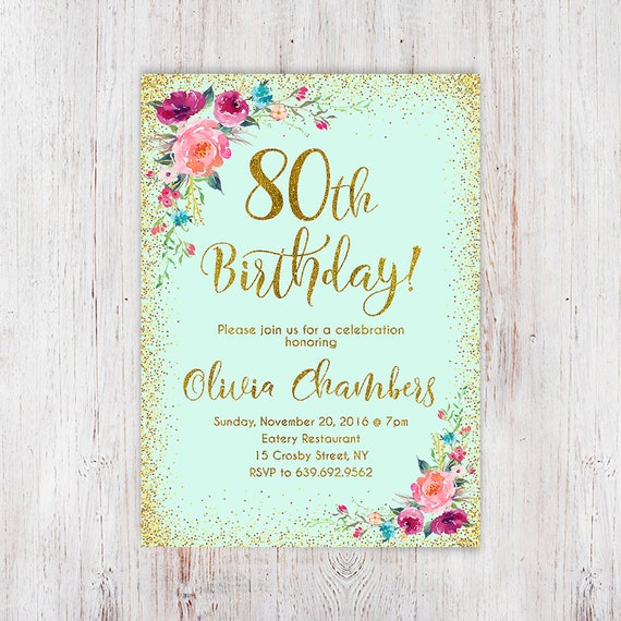 Boho women birthday invite 80th birthday invitation any age etsy image 0 filmwisefo