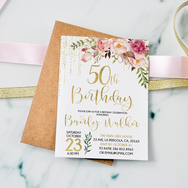 50th Birthday Invitation Floral And Gold Party Age Women Personalized