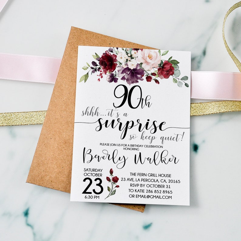 Surprise 90th Birthday Invitation Any Age Women