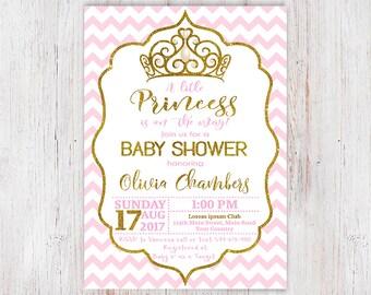 Little Princess Invitation Girl Baby Shower Invite Princess Baby Shower Invitation Pink Chevron Gold Glitter, Printable Digital File 15