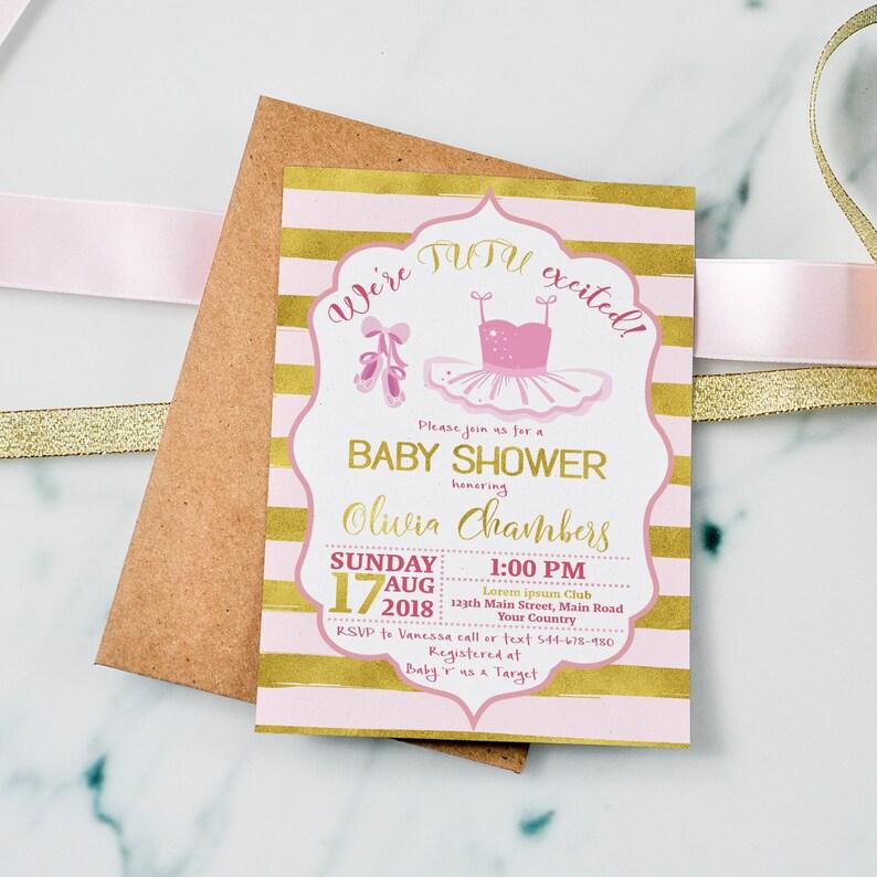 Tutu Baby Shower Invitations Girls Baby Shower Invitations Etsy