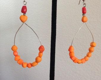 Fire orange earrings