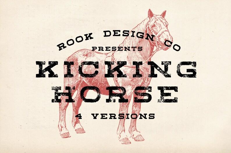 Kicking Horse Typeface- Slab Serif Font - 4 Fonts - Vintage / Logo / Brand  / Branding / Worn / Grunge