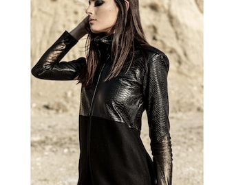 Killing Babe (woman alternative clothing-designed woman jacket-vegan leather jacket-apocalyptic-futuristic-cyberpunk-avantgarde-dystopian)