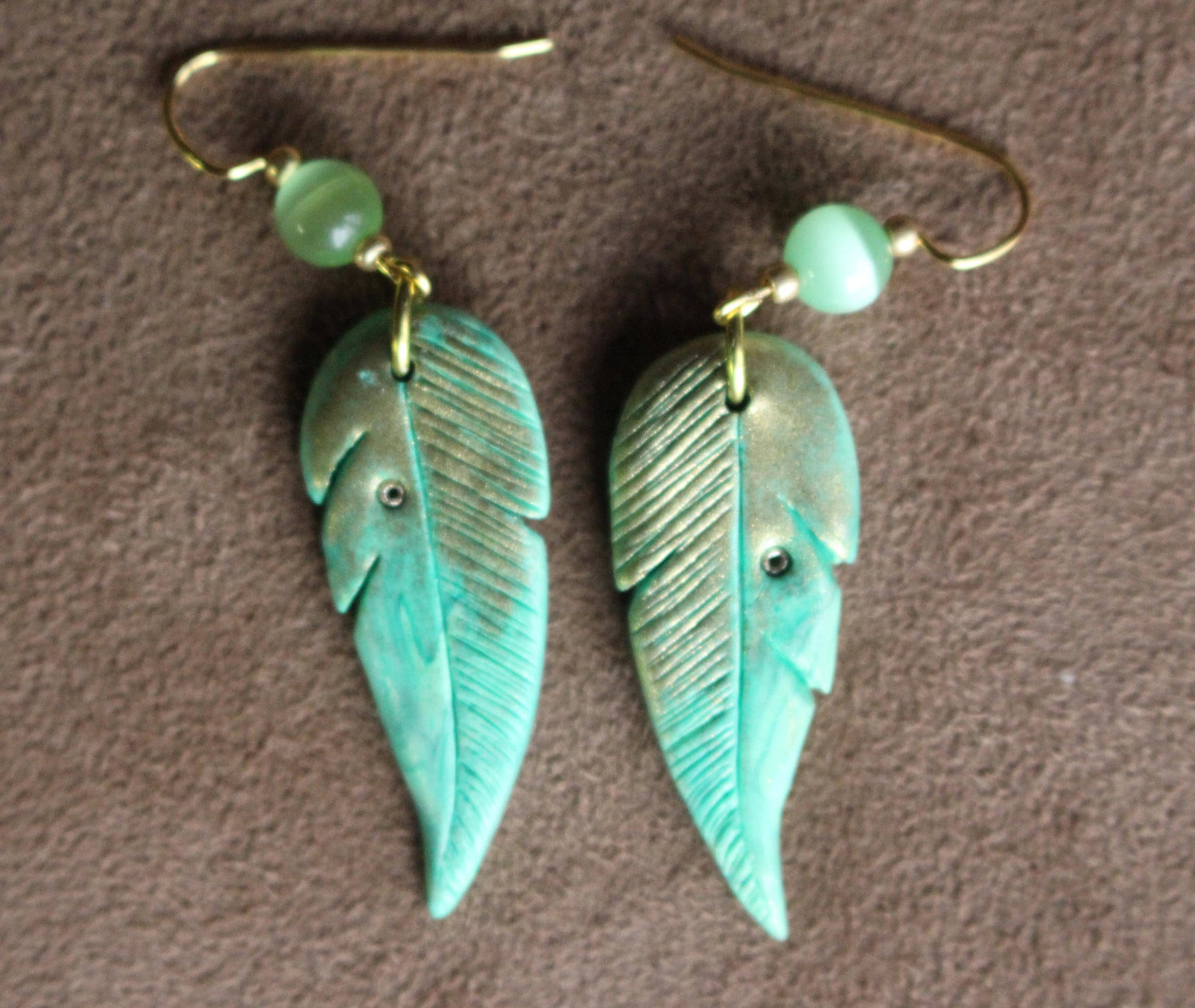 51caa0c035e Polymer Clay Feather-Shaped Earrings