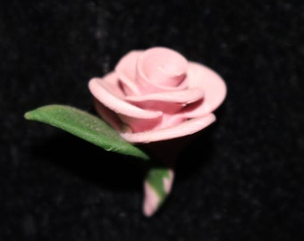 2 Sculpted Polymer Clay Roses and Stems