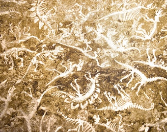 Fossil Fabric, Quilting fabric, cotton fabric,  Dinosaur fabric, fabric by the metre, Dinosaur Bones, Dinosaur fossils, skeleton fabric