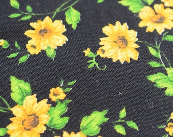 Sunflower fabric, quilting fabric, cotton fabric, black floral fabric, yellow sunflowers, patchwork fabric, dressmaking, curtains