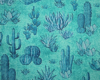 Turquoise cactus fabric, desert fabric, native american fabric, Quilting fabric, cotton fabric, southwest art,  Price by the Half Metre