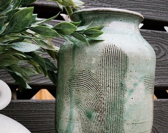 sea foam green hand made clay vase