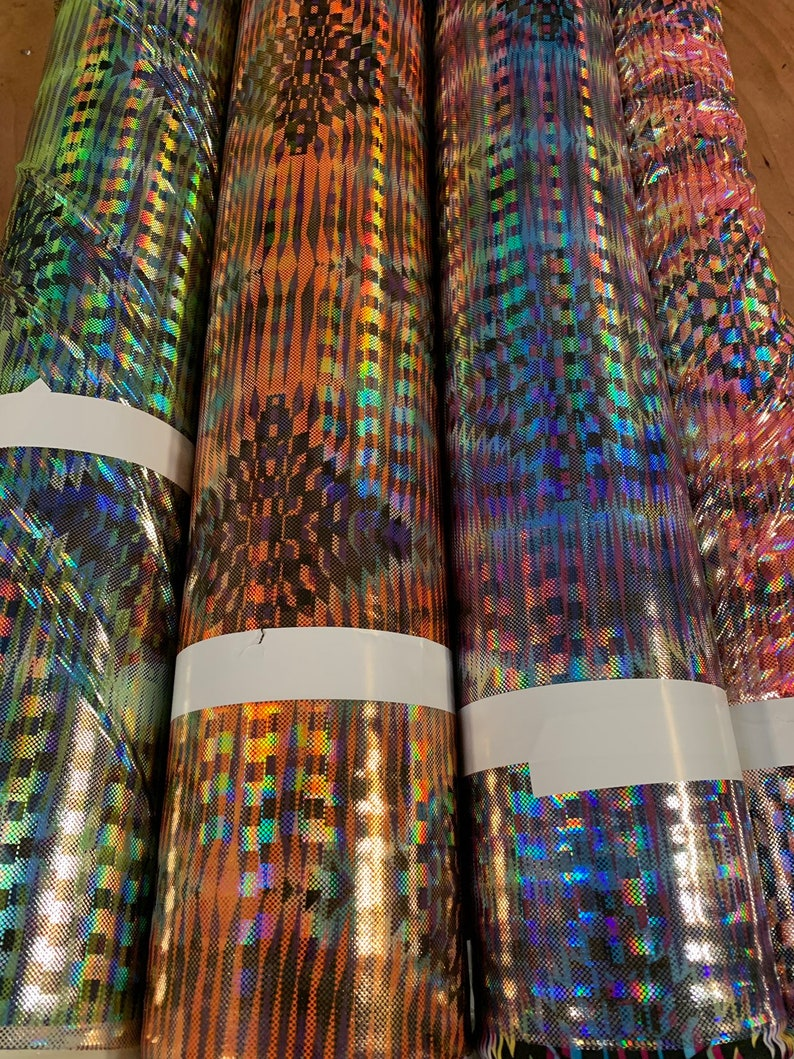 Ships worldwide from Los Angeles CA USA New 3D hologram diamond design iridescent metallic nylon spandex 4way stretch 5860 Sold by the YD