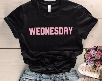 f043e987e on wednesdays we wear pink, mean girls shirt, mean girls quote, wednesday,  pink, minimalist, movie quote tshirt, unisex shirt, mean girls