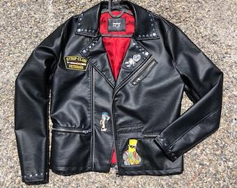 fdc0c709 Black biker jacket custom patch size large 1/1 new patchwork Patches  fashion art vintage style new