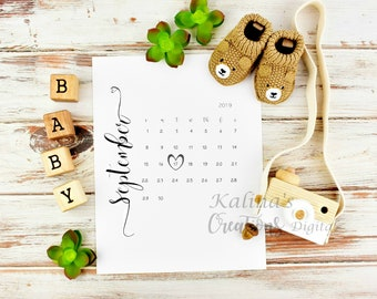 September 2019 Printable Calendar for Pregnancy Reveals
