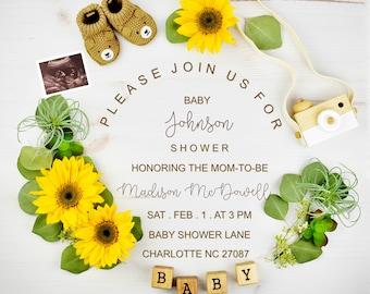 Digital Sunflower Baby Shower invitation