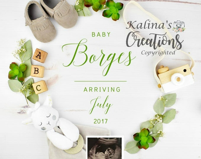 New Years Personalize Pregnancy Announcement for Social Media Announce