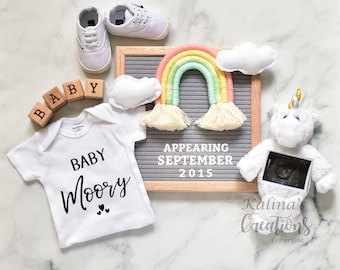 Rainbow unicorn Pregnancy Announcement for Social Media Announce