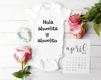 Spanish Onesie / Baby Announcement Onesie / grandparent announcement