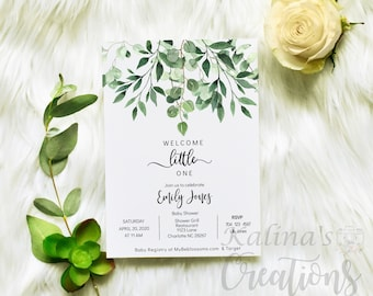 Greenery Baby Shower Invitation, Couples Baby Shower Invitation, KC14