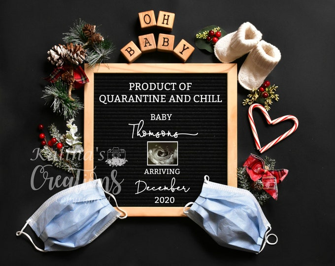 Quarantine Pregnancy Christmas Template for Social Media Announcement
