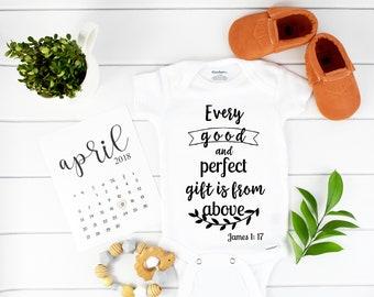 Every perfect gift onesie, bible verse onesie, Christian Baby onesie, Onesie Christian verse James 1 17, Christian Onesie, Onesie Christian
