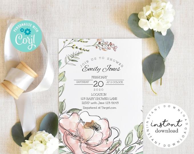 Wild Flower Baby Shower Invite - Pink Roses