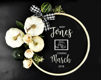 Pumpkin Digital Baby Announcement / Social Media Baby Announcement / Felt Letter Board Baby Announcement