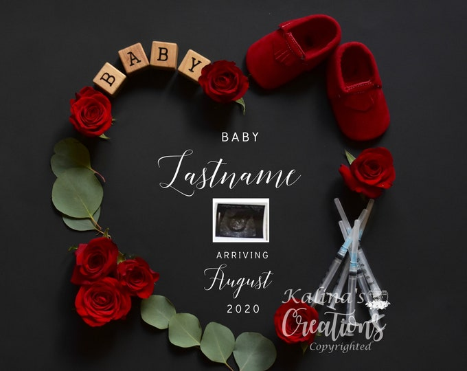 IVF Valentines  Baby Pregnancy Announcement For Social Media Announce