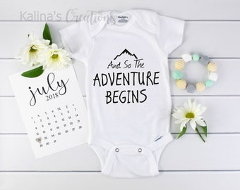 The Adventure Begins Onesie / baby announcement Onesie / Announcing Pregnancy / pregnancy announcement /pregnancy calendar / new baby