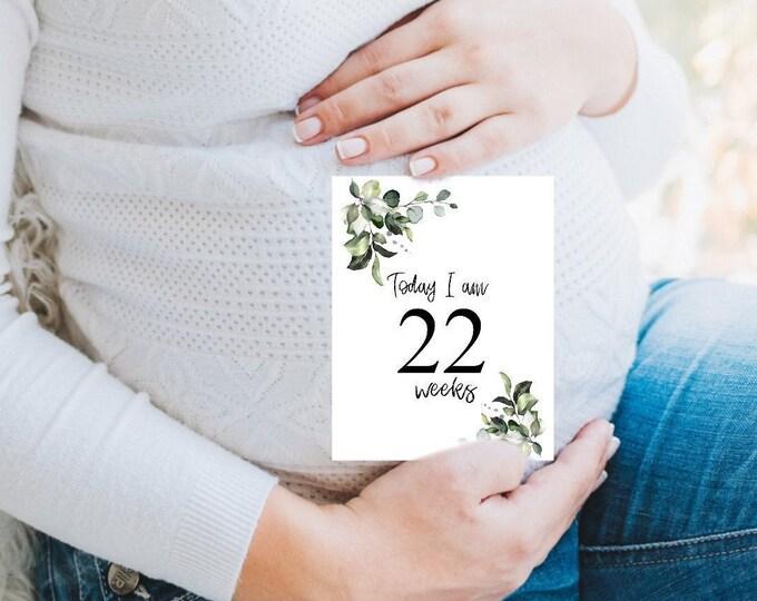 Pregnancy Milestone Cards Printable- Greenery Cards, KC40