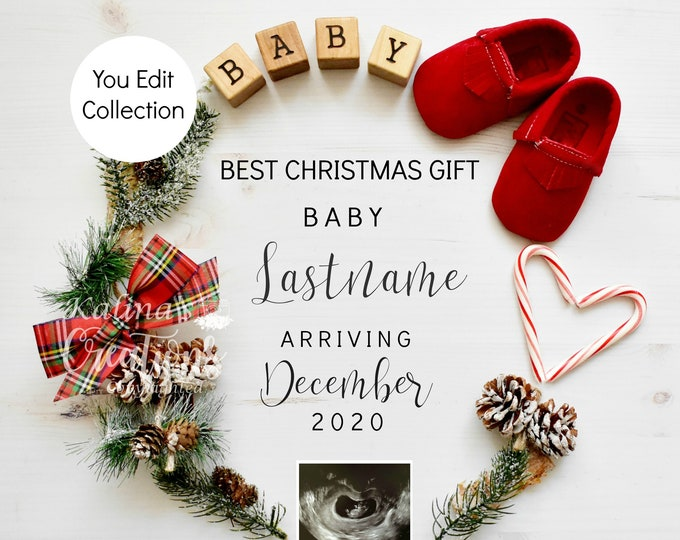 Christmas Pregnancy Announcement for Social Media Announce Template