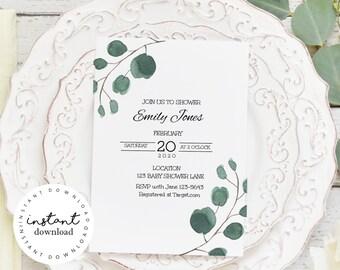 Greenery Ferns Baby Shower Invitation, baby shower invitation template