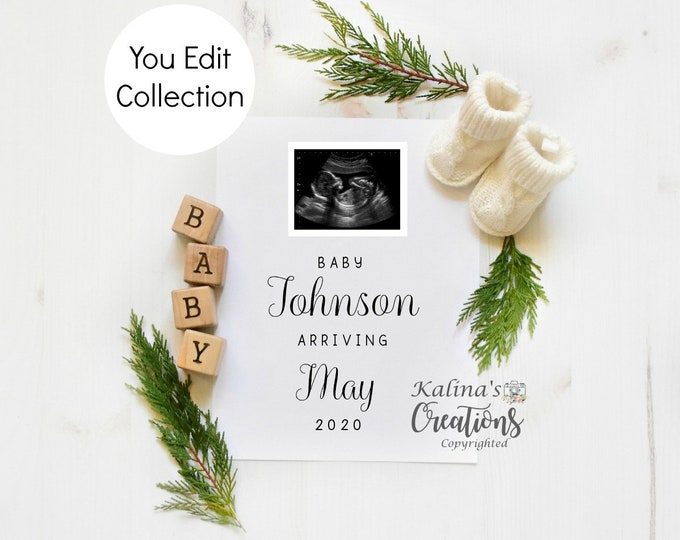 Winter Pregnancy Announcement Template for Social Media Announce
