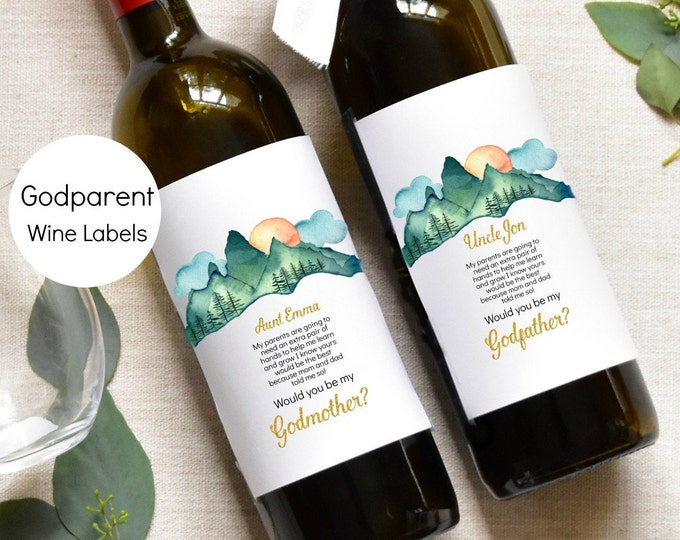 Adventure Godmother Wine Label - Godparents Wine Label Pregnancy Announcement, KC18