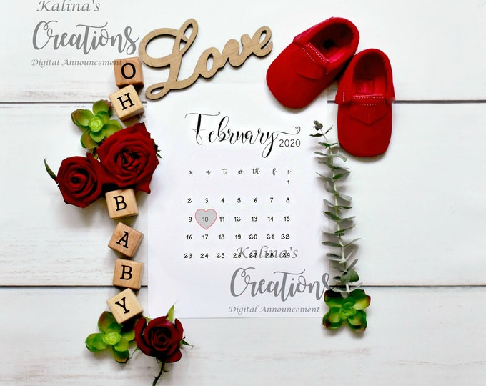 Any Month Calendar Pregnancy Announcement for social Media