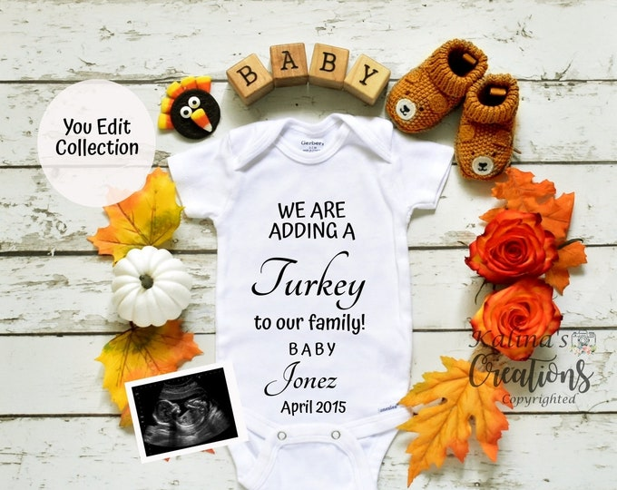 Thanksgiving Baby Announcement Pregnancy Template  - Social Media Announce