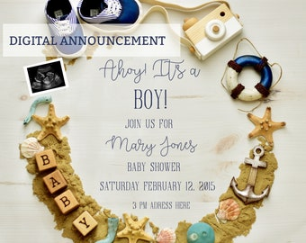 Digital Nautical Baby Shower OR Pregnancy Announcement  for Social Media or printable