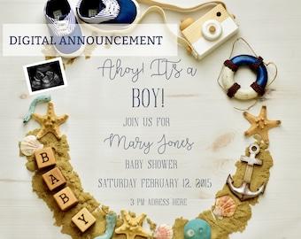 Digital Nautical Baby Shower Invitation
