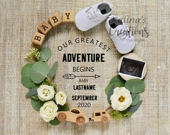 Travel and Adventure Pregnancy Announcement Digital Social Media Announce