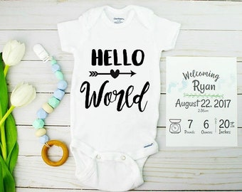 Hello World Onesie for Coming Home