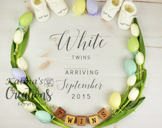 Easter Twins Pregnancy Announcement for Social Media Announce