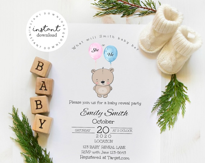Gender Reveal Party Invite -