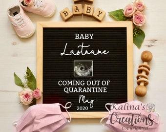 Quarantine Pregnancy Announcement Digital - Baby Girl Gender Reveal - Social distancing